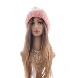 Pink and white beanie wig