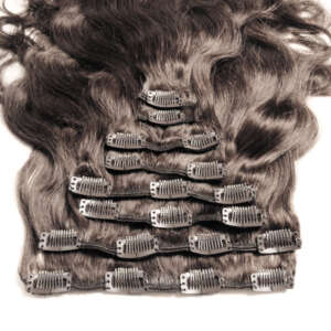 Tymeless hair wigs clip in extensions dark brown