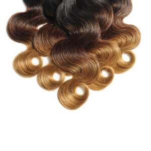 Body Wavy Black To Brown To Blonde Three Tone Ombre Human Hair Weaves Extensions Bundles